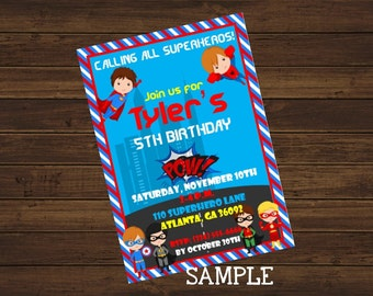 Superhero Birthday Invitation, Boys Superhero Birthday Invitation, Printable Invitation,