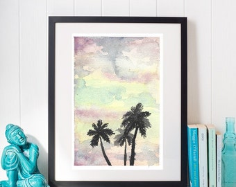 Palm Tree Watercolor Print | Watercolor Art | Watercolor Print