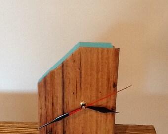 Silver Top Ash Desk Clock - Blue