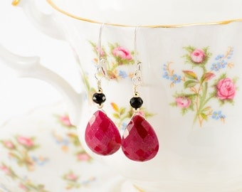 Sterling silver, ruby teardrop and onyx accent drop earrings