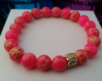Hot Pink Impression Jasper Beaded Bracelet