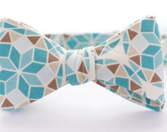 BOW TIE | baby, toddler, & boys | self-tie | geometric turquoise