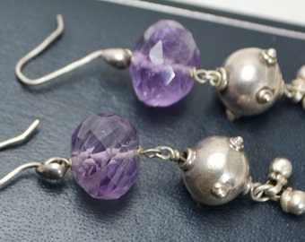 Vintage Unusual STERLING SILVER & Faceted Amethyst Long DROP Dangle Earrings