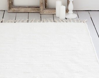 Ivory White Rug / Handwoven Cotton / The Aira