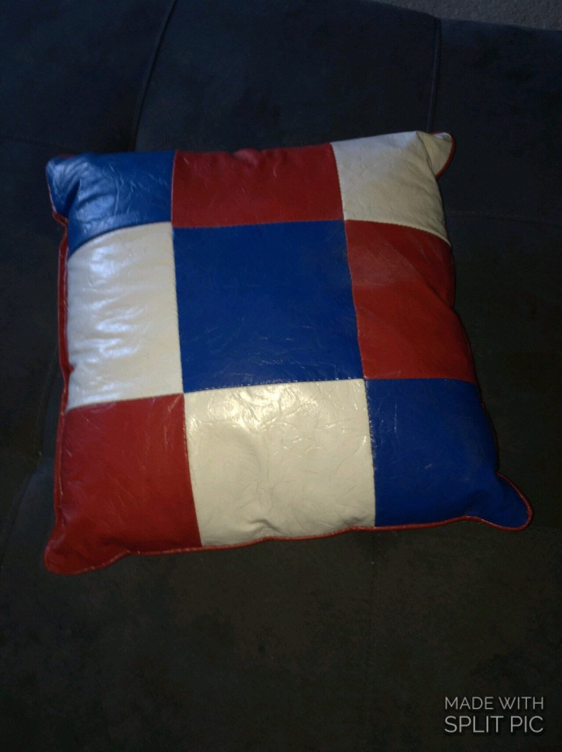 Vinyl Throw Pillows : Vtg 1970s Red White & Blue Vinyl Decorative Pillow