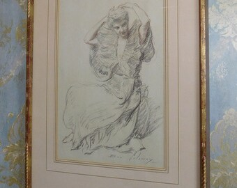 "Original Signed Ben Solowey (PA 1900-1978) Conte Crayon Framed Drawing ""Dressing"""