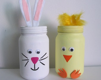 Easter Bunny and Chick Mason Jar Shelf-sitters  - set of 2