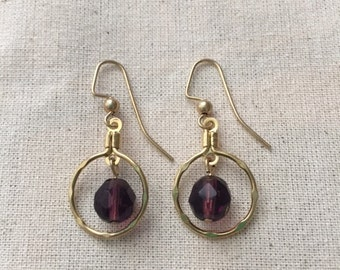 Plum and Gold Drop Earrings