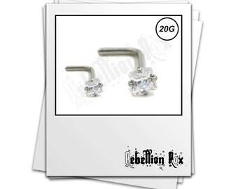 Silver Nose Stud, Surgical Steel Nose Stud, L Shape L Bend Nose Stud, 20G, Swarovski Crystal Prong Set. Silver L Shaped Bent - SSLBNSCZS01