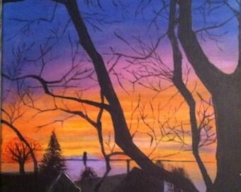 Evening Sky Silhouette Painting