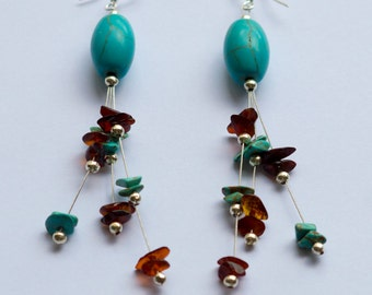 Handmade earrings in turquoise and amber