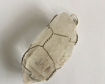 Wire Wrapped Chunky Raw Quartz Crystal Pendant