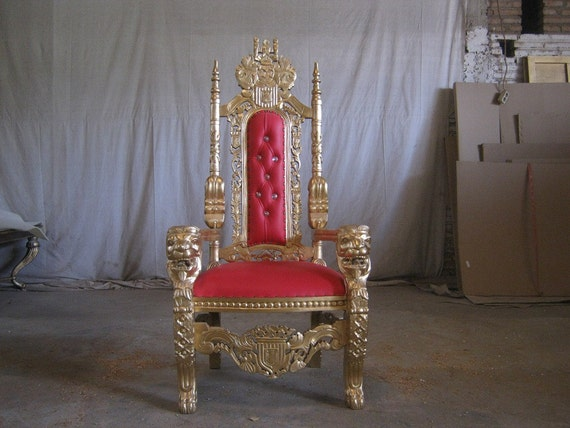 BRAND NEW Lion Queen Wedding Throne chair Ornate French in Gold Leaf & Red