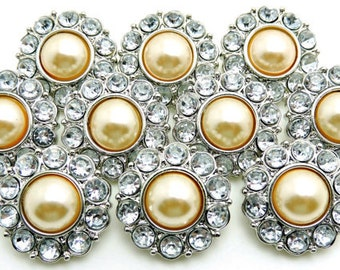 CHAMPAGNE Pearl Buttons W/ Clear Surrounding Rhinestones Wedding Bridal Buttons Garment Coat Button Sewing Coat Buttons 25mm 2997 34P 2R