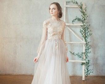 Etsy blush pink chiffon wedding dress