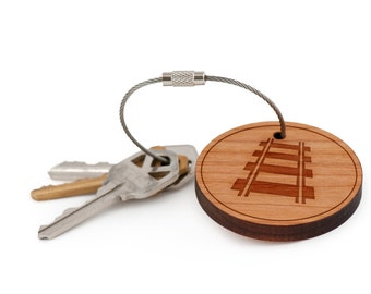 Railroad Keychain, Wood Keychain, Custom Keychain, Gift For Him or Her, Wedding Gifts, Groomsman Gifts, and Personalized