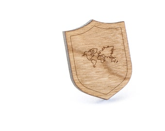 World Map Lapel Pin, Wooden Pin, Wooden Lapel, Gift For Him or Her, Wedding Gifts, Groomsman Gifts, and Personalized