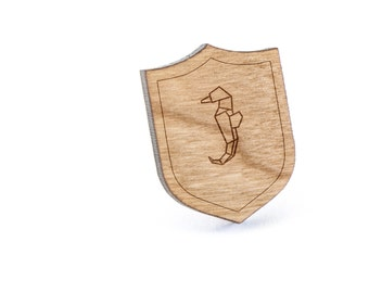 Polygon Seahorse Lapel Pin, Wooden Pin, Wooden Lapel, Gift For Him or Her, Wedding Gifts, Groomsman Gifts, and Personalized