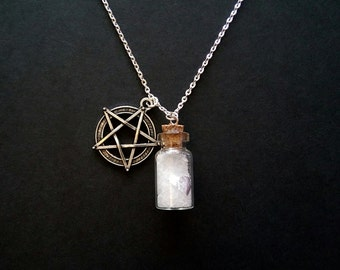 """Wiccan Protection Bottle Necklace. Pure Salt, 999 Silver and Pentacle/Pentagram. Long 26"""" Silver Plated Chain."""