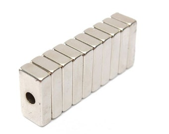 "10pcs Rectangle Block Magnets 3/4""x3/8""x3/16"", Center Hole: 4mm, Rare Earth Neodymium, 10 Magnets"