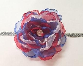 Fourth of July headband, Red, White, and Blue headband