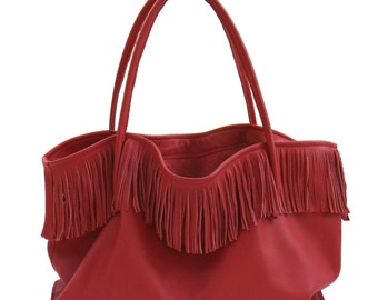 Large leather bag fringe bag XXL shopper red Handmade