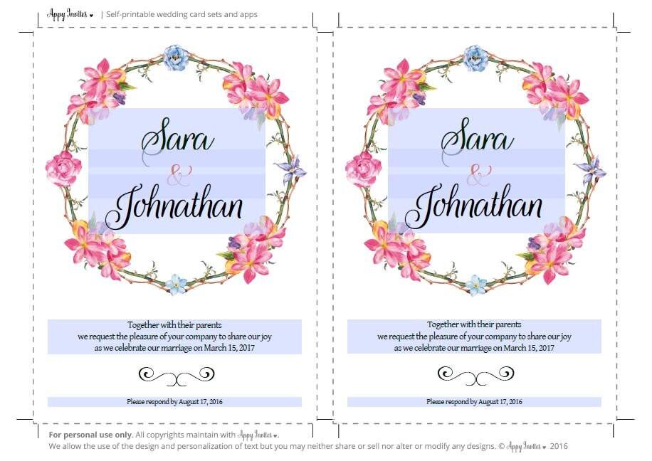 Printable Wedding Invitation, Program Card, Printable Invitation ...