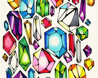 Rainbow Crystals Illustration - Archival Print 8x10