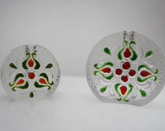 2 pretty Solifleur Vases by Walther Glas Bubble Blockvase Budvase stemvase