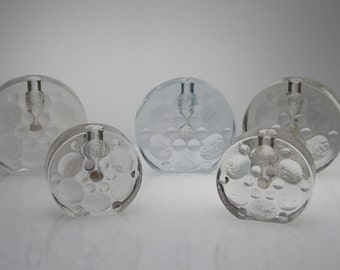 5 Solifleur Vases by Walther Glas Bubble Blockvase Budvase stemvase