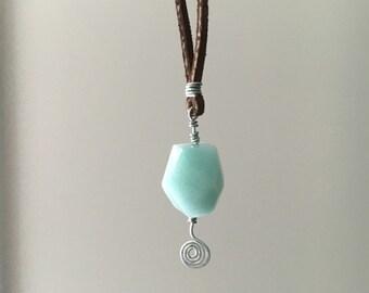 Teal gem necklace