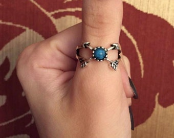 Silver Double Arrow Turquoise Thumb Ring