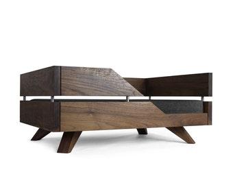 solid walnut dog bed