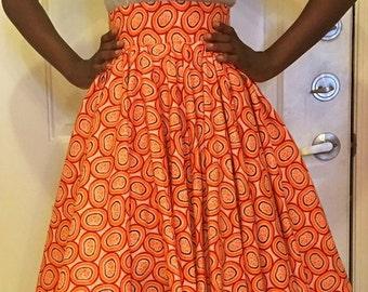 Orange African Print Skirt