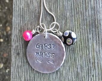 Gypsy Nurse, Hand Stamped, Traveling Nurse Jewelry, Personalized Jewelry