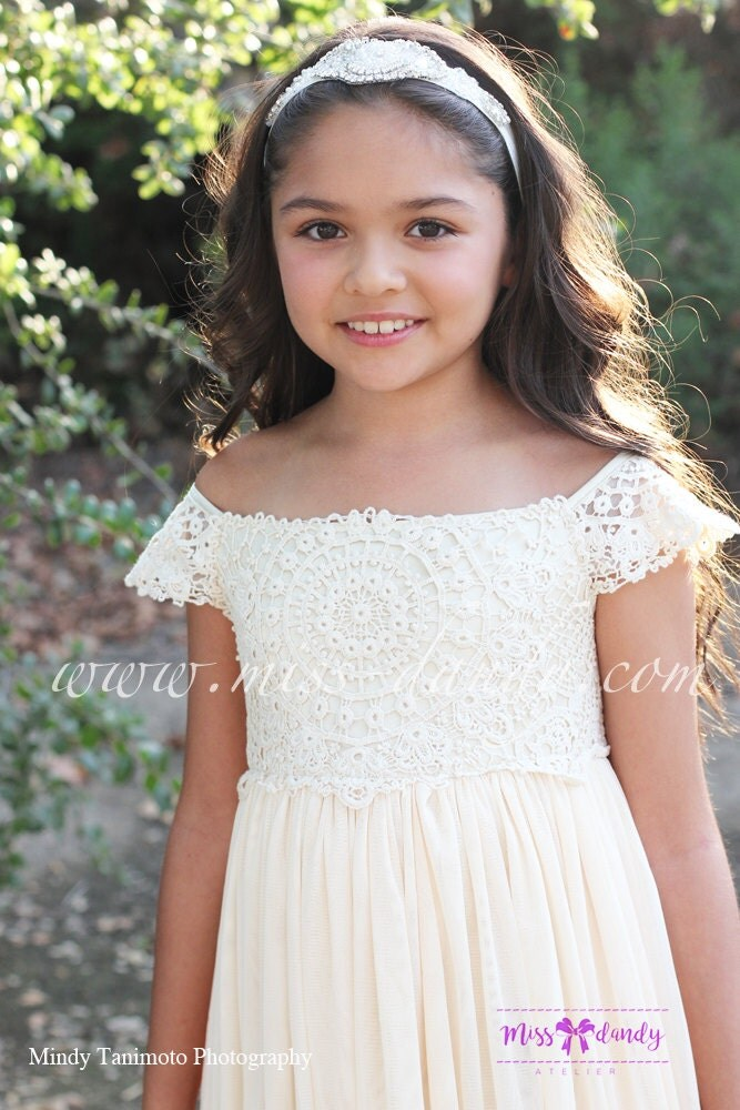 Rustic Flower Girl Dress,Boho Lace Crochet Flower Girl Dress, Rustic Beige/Cream Bohemian Flower girl Dress, Rustic flower girl,Sienna Dress