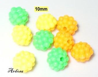 9 acrylic bubble beads Hedgehog 10 mm mix (882.3)