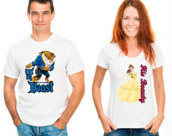 Disney Iron On Printable His Beauty and Her Beast Pair Printable Iron on Transfer Designs Two Designs Included INSTANT DOWNLOAD