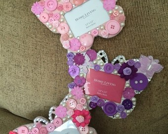 3 piece butterfly photo frame