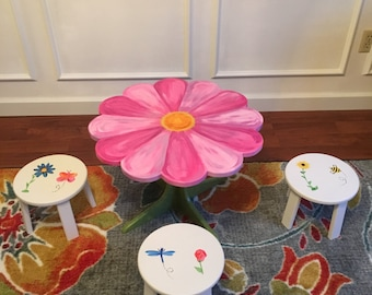 Floral Fantasy Table Set (table + 2 stools)