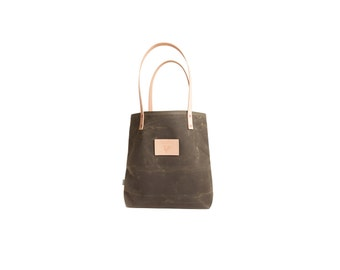 Meanwhile Back on the Farm Waxed Canvas and Leather Tote - Olive