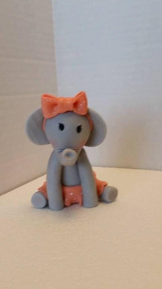 Edible Cake Images Elephant : Baby Girl elephant edible cake topper