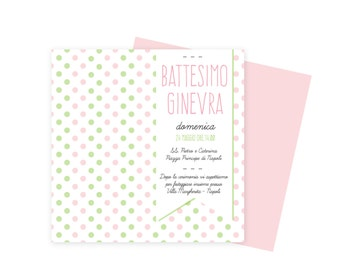 Personalized BAPTISM invitations GIRL pink-green