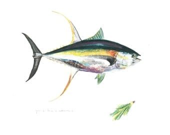 Yellow Fin Tuna Watercolor - Giclee Archival Print - Custom Sizing Available