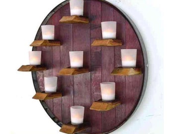 Wine Barrel Top With Votive Candles