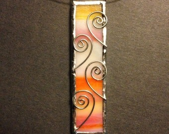 Multi colored stained glass necklace