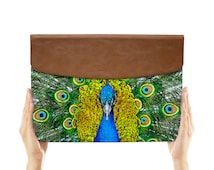 macbook air case leather sleeve envelope for apple ipad mini macbook air pro 11 12 13 15 peacock green wild animal feather