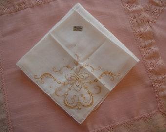 Vintage Wedding Handkerchief Madeira Bridal Hanky NOS with Tag