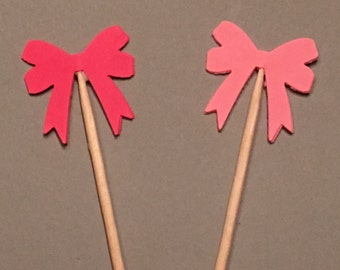 12 Pink Bow Cupcake Baby Cupcake Toppers Birthday Cupcake Toppers Showe Cupcake Toppers Wedding Cupcake Toppers Pink Party Picks