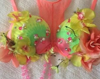Tropical Peach Mermaid Bra 34/36B